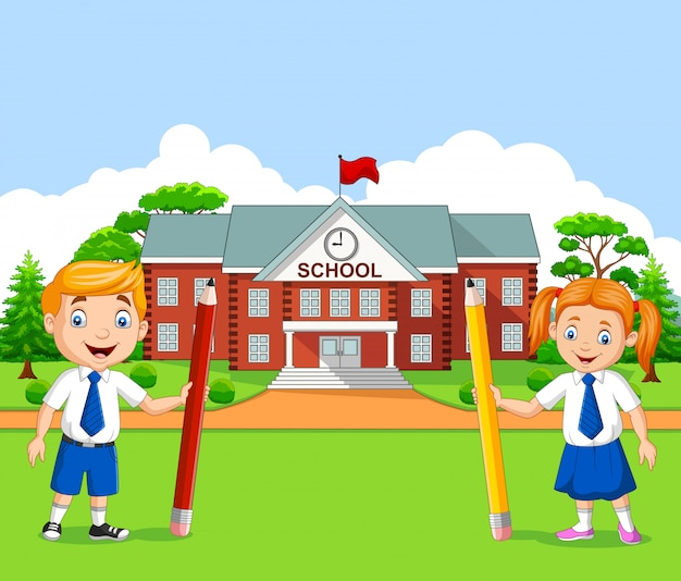 Cartoon school kids in the school yard Premium Vector