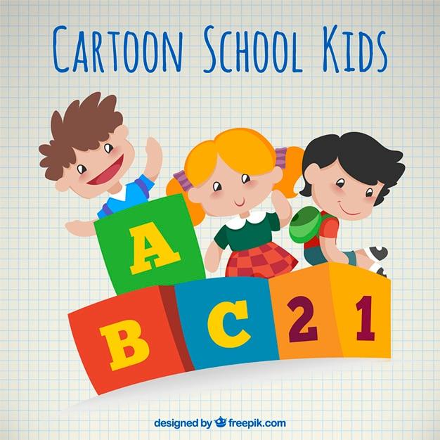 Cartoon school kids Free Vector