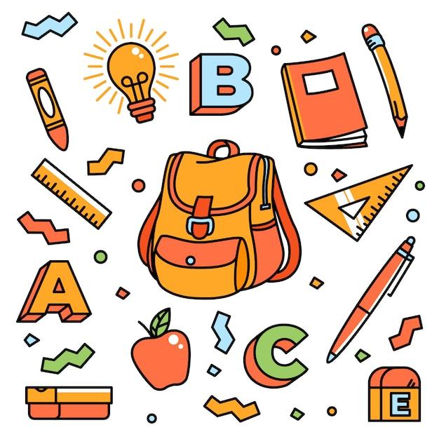 Cartoon school stationary accesories Premium Vector