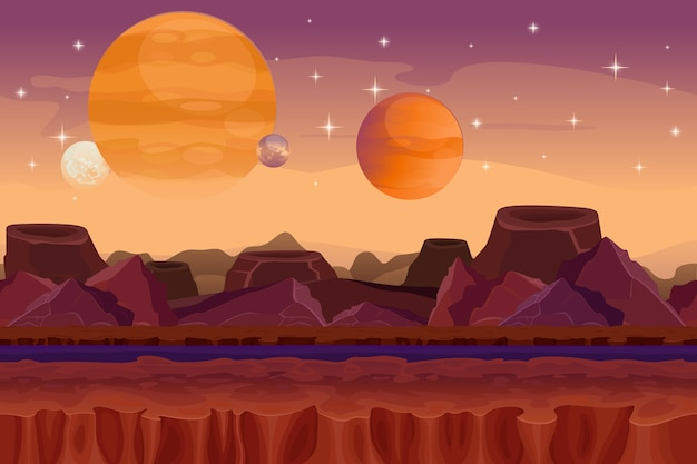 Мультяшный научно-фантастический бесшовный фон. пейзаж чужой планеты. гора и кратер, фантазия о визуализации, вид на природу Бесплатные векторы