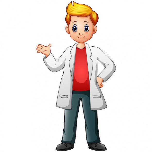 Мультфильм ученый мальчик в халатах Premium векторы
