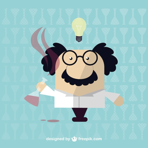 Cartoon scientist with a test tube Free Vector