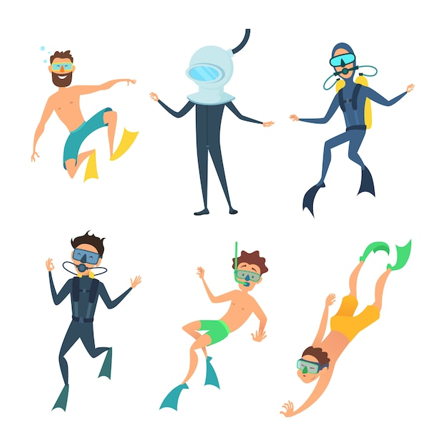 Cartoon of sea divers funny characters Premium Vector