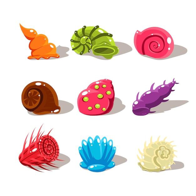 Cartoon sea shells. illustration set | Premium Vector