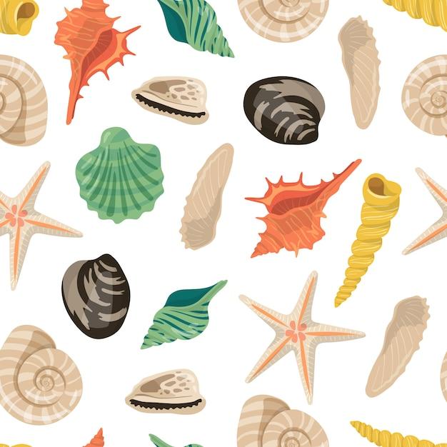 Cartoon sea shells pattern or illustration | Premium Vector