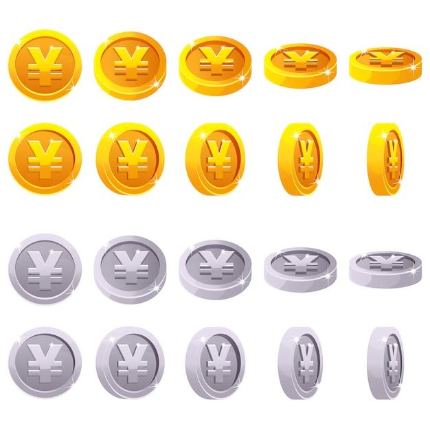 Cartoon set of 3d metallic yen coin yuan symbol, chinese money, vector animation game rotation Premium Vector