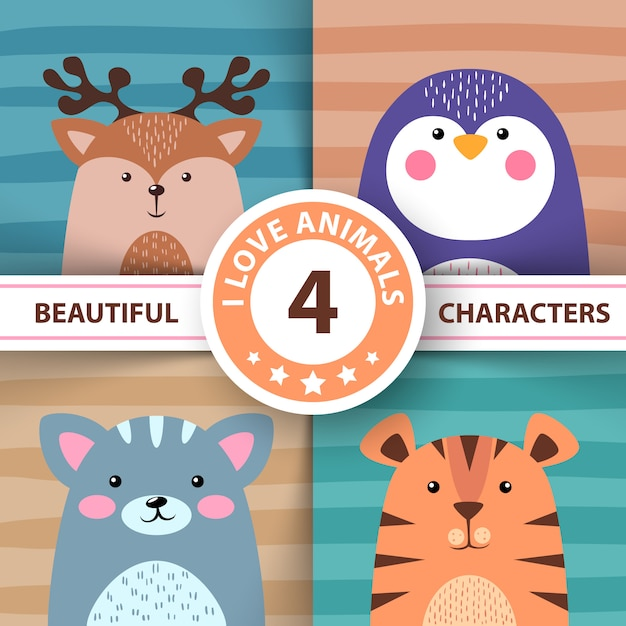 Cartoon set animals Premium Vector