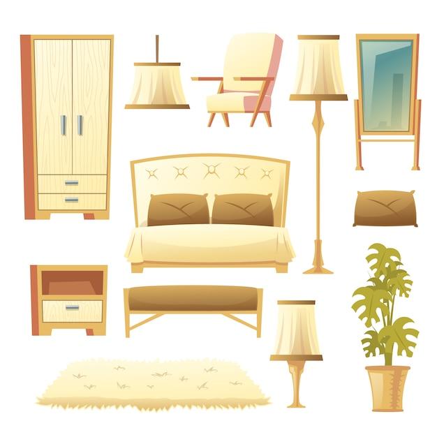 Cartoon set of a bedroom Free Vector