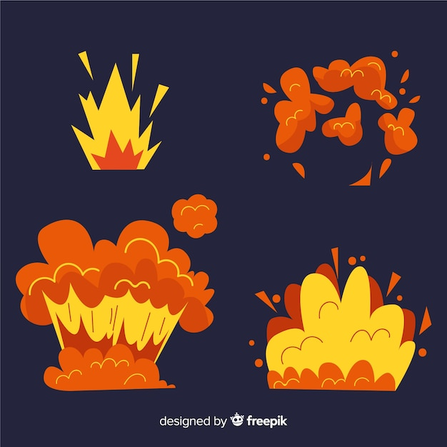 Cartoon set of bomb explosion effects Free Vector