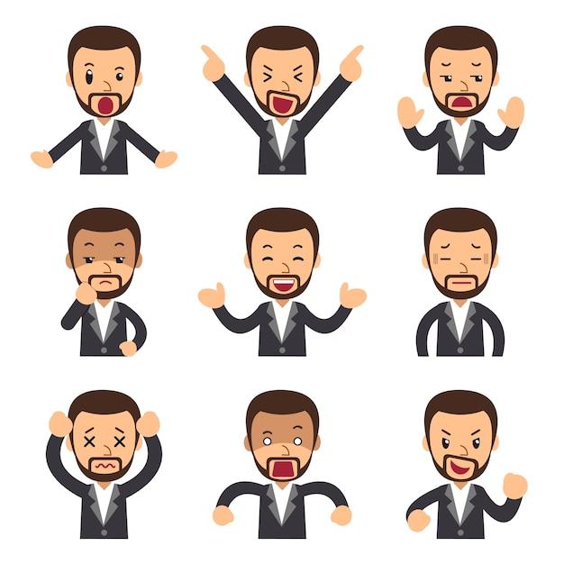 Cartoon set of businessman faces showing different emotions Premium Vector