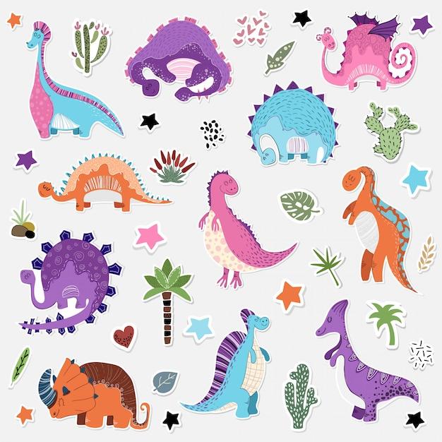 Cartoon set of dinosaurs sticker Premium Vector