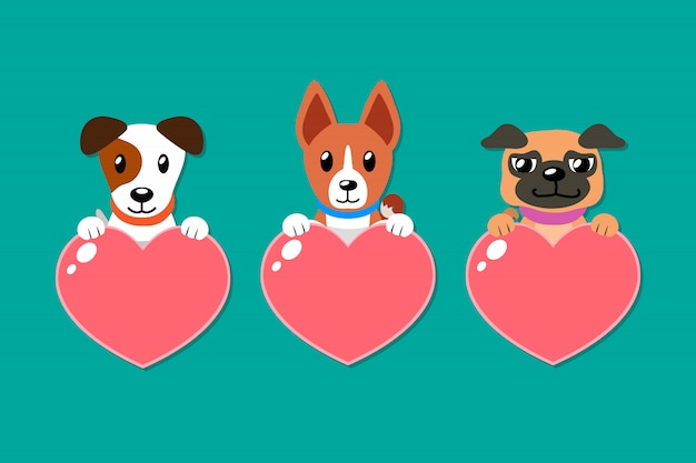 Cartoon set of dogs with heart signs Vector | Premium Download