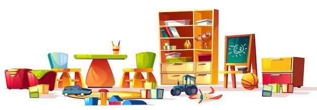 Cartoon set of elements for interior childrens kindergarten, playground. Free Vector