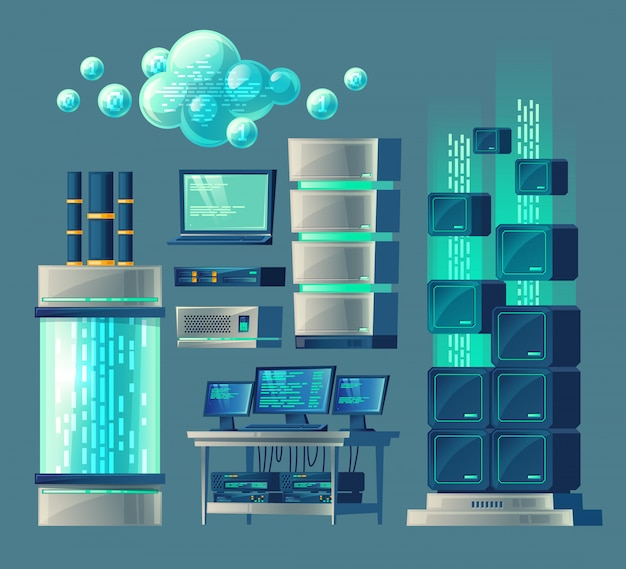 Cartoon set of equipment and devices for data processing and storage, database Free Vector