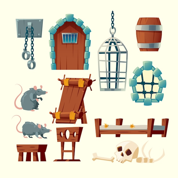 Cartoon set of medieval prison, torture objects - rack, shackles and metal hanging cage. Free Vector