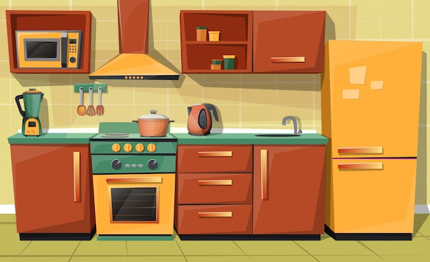 cartoon set of kitchen counter with appliances - fridge, microwave oven, kettle, blender Free Vector