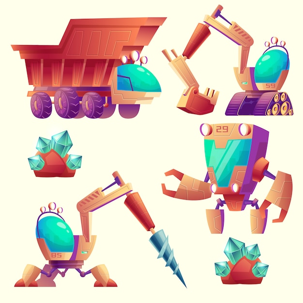 Cartoon set of mining machinery for other\ planets, futuristic devices.
