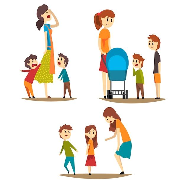 さまざまな状況での母親の漫画セット疲れた主婦と大声で叫ぶ息子、乳母車と彼女の隣に2人の男の子を持つ若いお母さん、小さな女の子を叱る女性 Premiumベクター