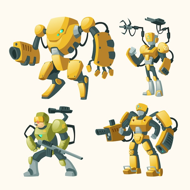 Cartoon set with androids, human soldiers in robotic combat exoskeletons with guns Free Vector