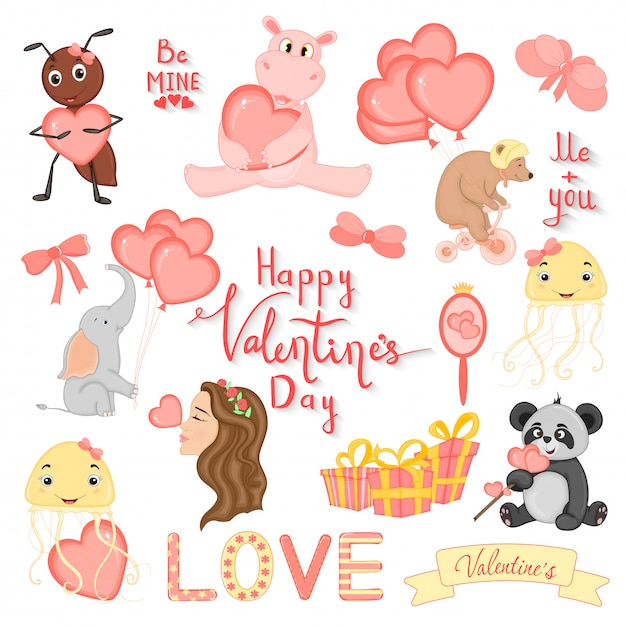 Cartoon set with animals and lettering for valentine s day Premium Vector