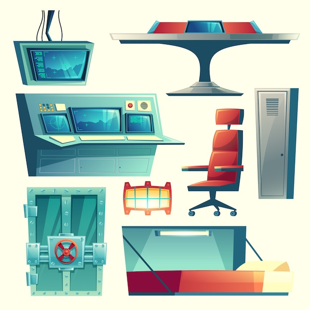 Cartoon set with equipment for underground bunker, bomb shelter, base for survival Free Vector