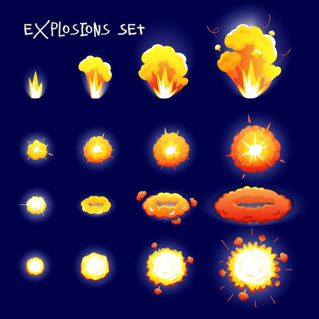 Cartoon set with explosion effects of different size and shape for flash animation isolated on dark Free Vector