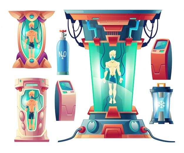 Cartoon set with futuristic equipment for hibernation, cryogenic cameras with sleeping humans Free Vector