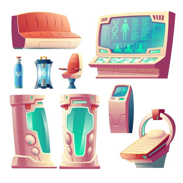 Cartoon set with futuristic equipment for hibernation, empty cryogenic cameras for sleeping Free Vector