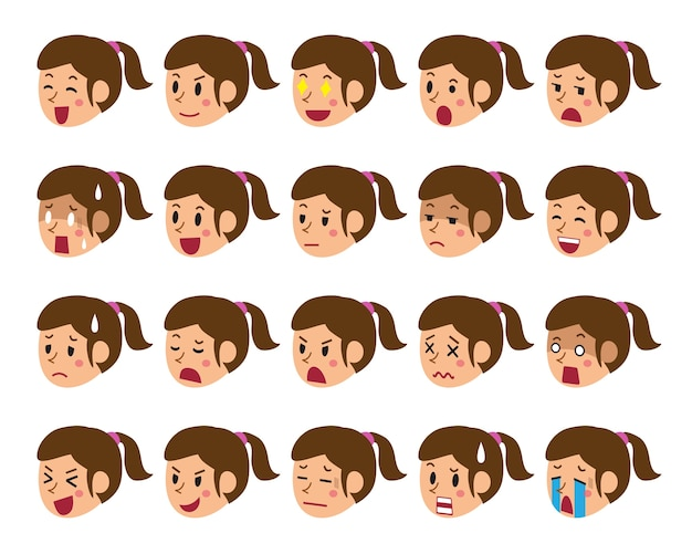 Cartoon set of a woman faces showing different emotions Premium Vector