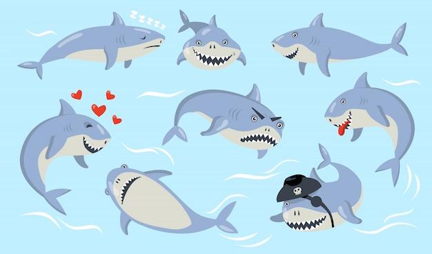 Set di emozioni diverse di squalo del fumetto Vettore gratuito