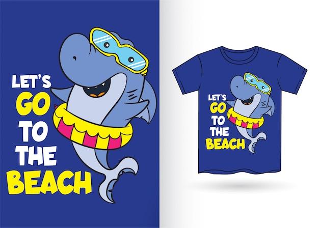 Cartoon shark for t shirt Premium Vector