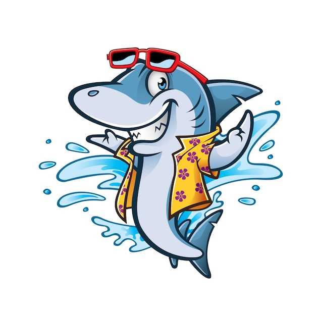 Cartoon shark with beachwear and sunglasses smiling welcome Premium Vector