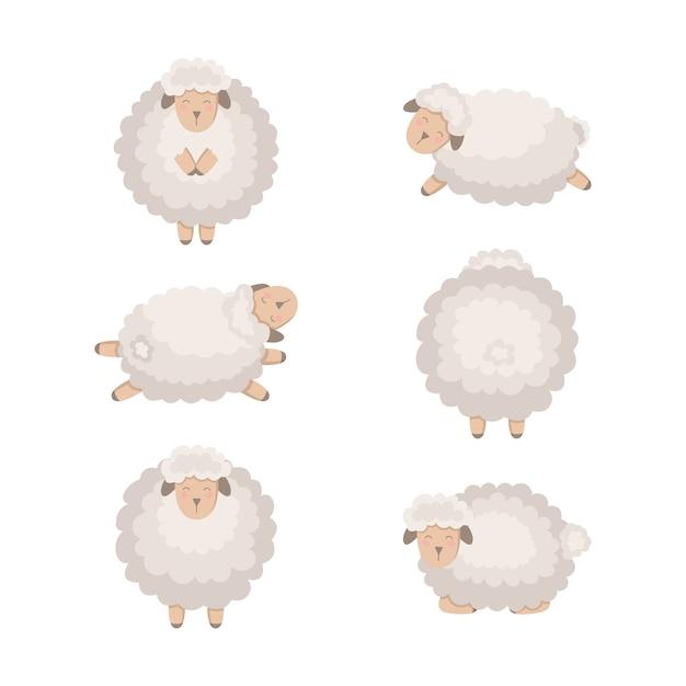 Сборник мультфильмов овец, изолированные на белом. Premium векторы