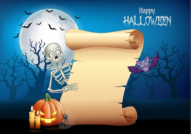 Cartoon skeleton holding scroll banner Premium Vector