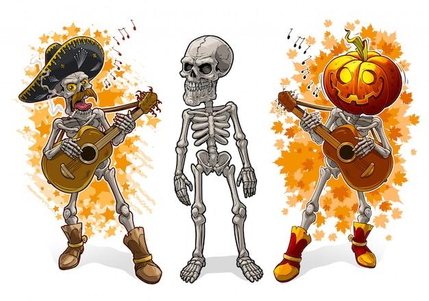 Cartoon skeletons with pumpkin sombrero and guitar Premium Vector