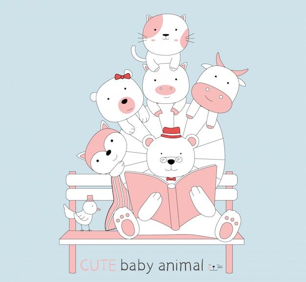 Cartoon sketch cute baby animals read a book Premium Vector