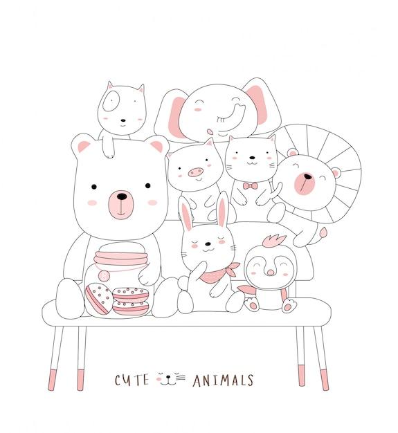 의자에 귀여운 아기 동물을 스케치하십시오. 손으로 그린 스타일. 프리미엄 벡터