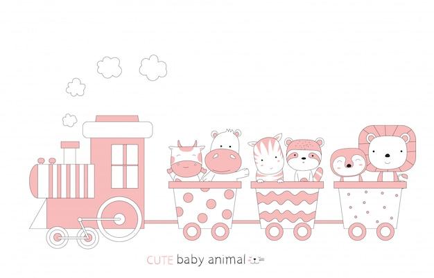漫画は電車の中でかわいい赤ちゃん動物をスケッチします。手描きスタイル。 Premiumベクター