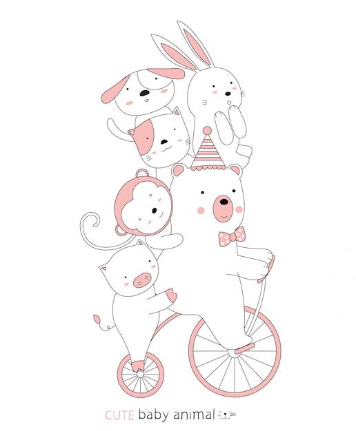 漫画は、ビンテージ自転車でかわいい赤ちゃん動物をスケッチします。手描きスタイル。 Premiumベクター