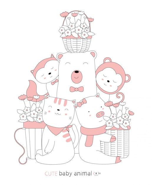 Мультяшный эскиз милый ребенок животное с цветочной корзиной. рисованный стиль Premium векторы