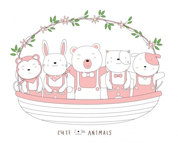 꽃 바구니와 함께 귀여운 아기 동물을 스케치하는 만화. 손으로 그린 스타일. 프리미엄 벡터