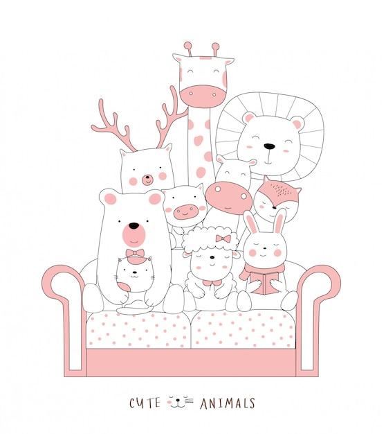 만화는 소파에 귀여운 고양이 아기 동물을 스케치합니다. 손으로 그린 스타일. 프리미엄 벡터