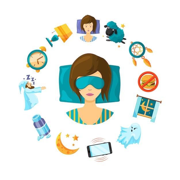 Cartoon sleep elements around sleeping woman person Premium Vector
