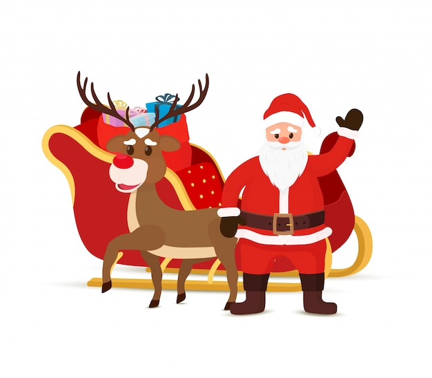Cartoon Sleigh Reindeers Sled With Santa Claus Premium Vector