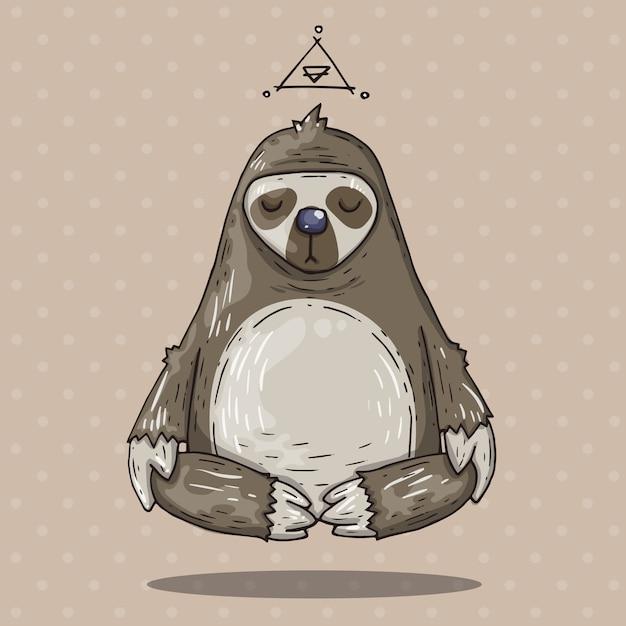 Cartoon sloth meditates. cartoon illustration in comic trendy style. Premium Vector