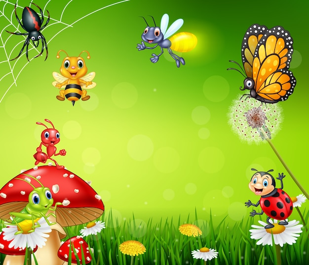 Cartoon small insect with nature background Premium Vector