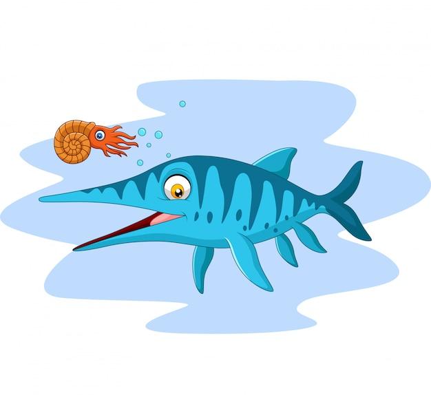 Cartoon smiling ichthyosaurus and nautilus Premium Vector