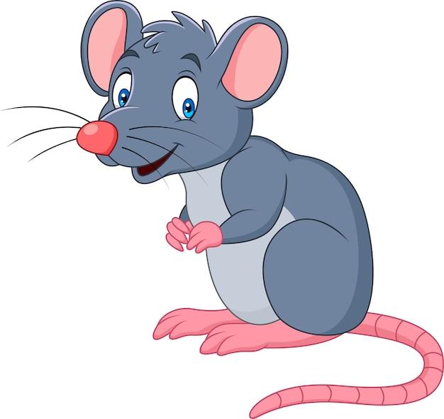 Cartoon smiling mouse Premium Vector