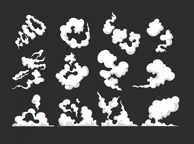 Cartoon smoke. smoking car motion clouds cooking smog smell dust toxic blast vector isolated comic collection Premium Vector