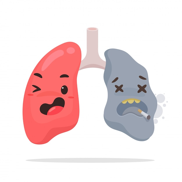 漫画の喫煙肺。 Premiumベクター